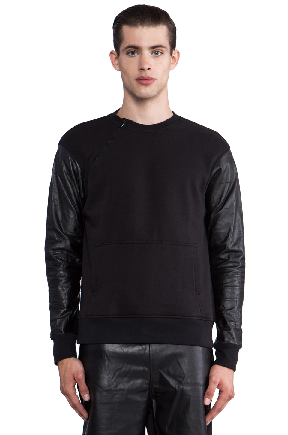 Iridium Sweatshirt w/Embossed Leather Sleeves in Black