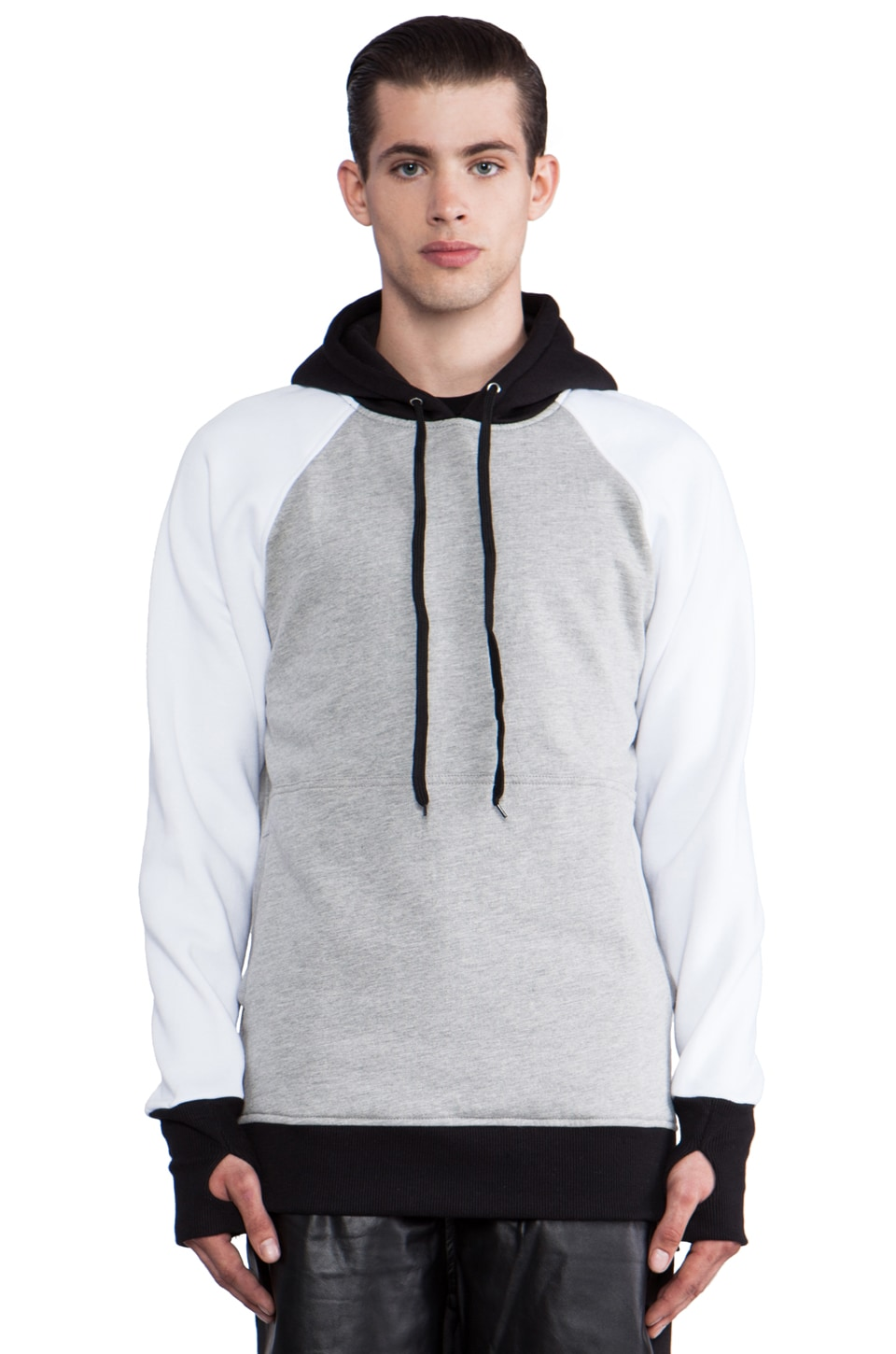 Iridium Pullover Hoodie in Grey & White