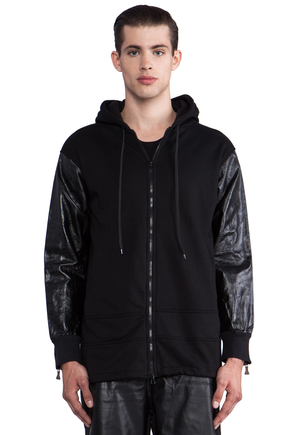 Iridium Zip Hoody w/Leather Sleeves in Black