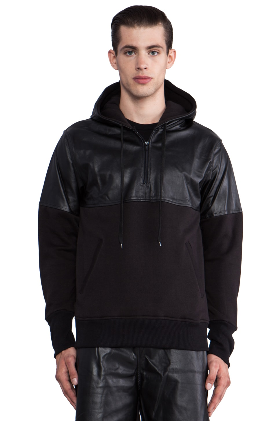 Iridium Leather Detailed Hoody in Black