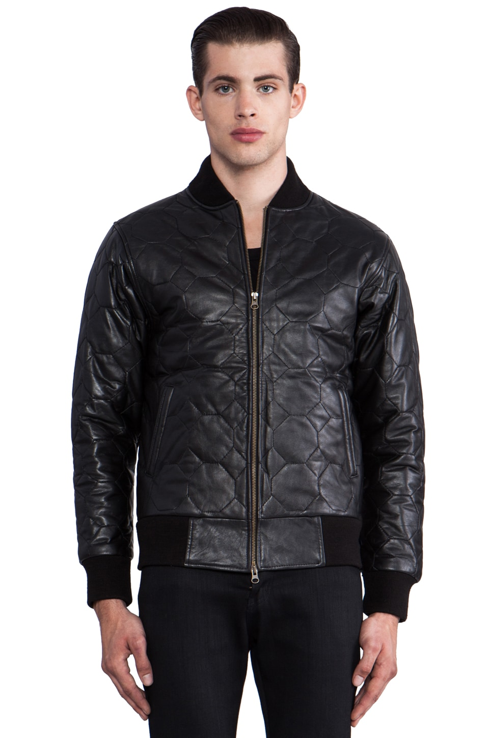 Iridium Leather Bomber in Black