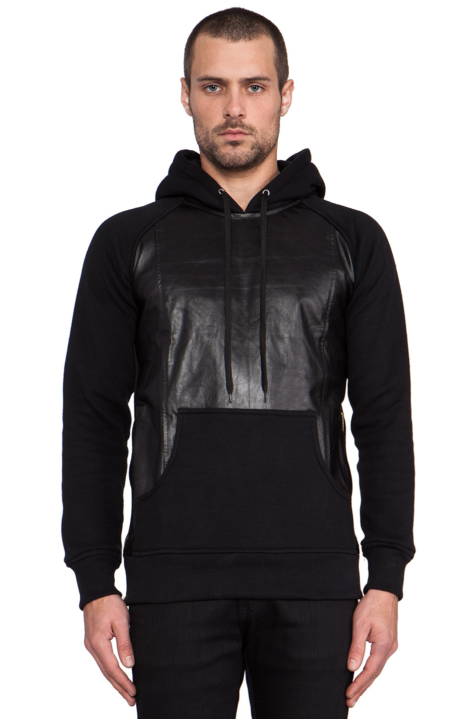 Iridium Leather Cotton Pullover Hoodie in Black
