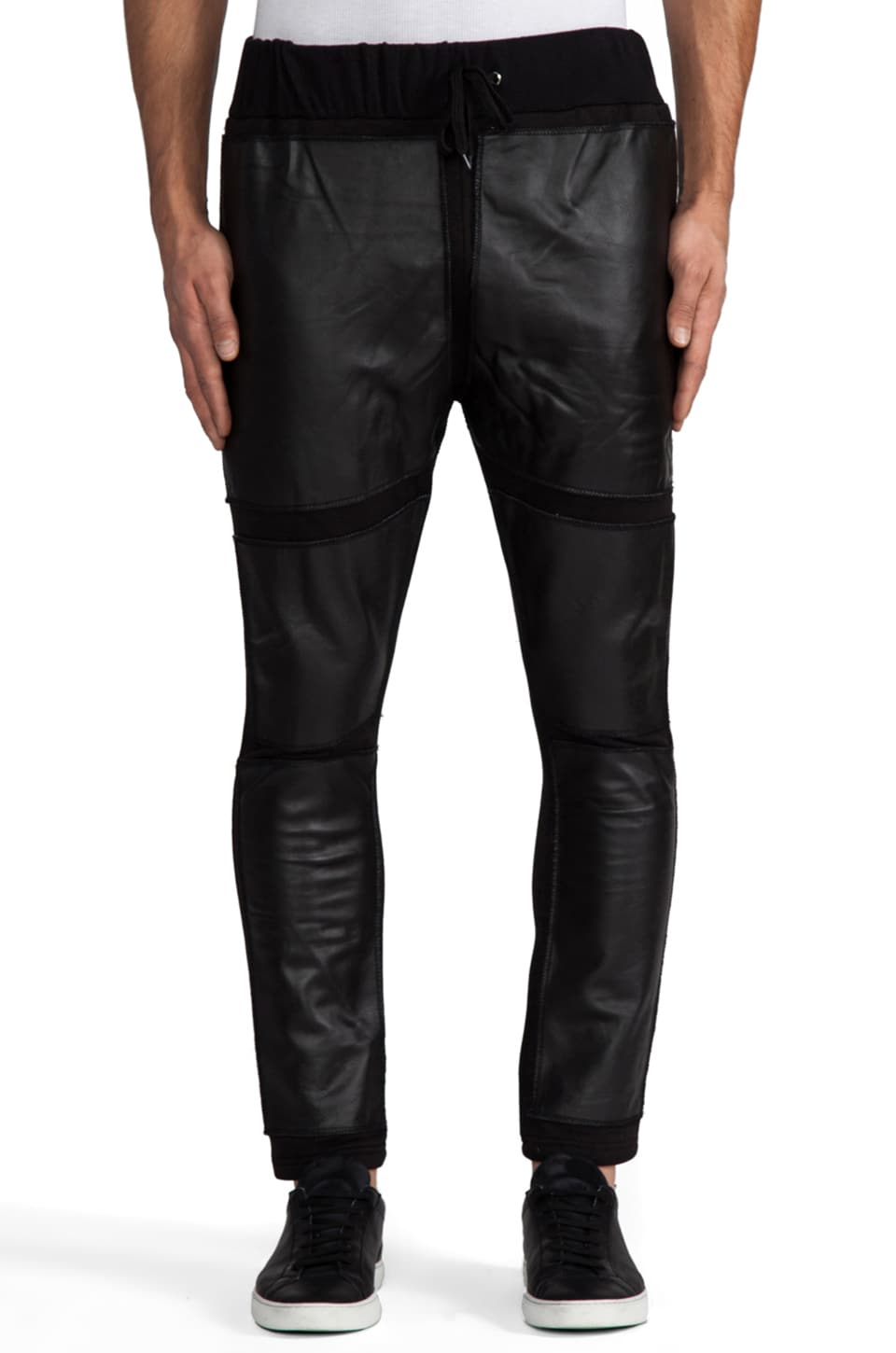 Iridium Black Square Leather Pants in Black