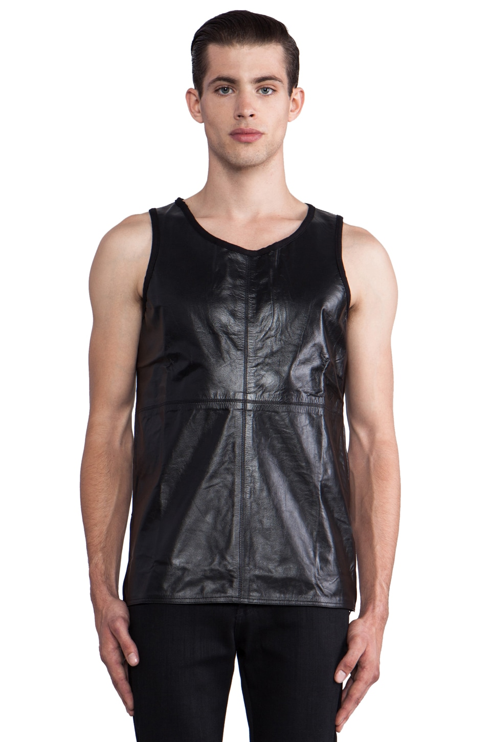Iridium Full Leather Tank in Black