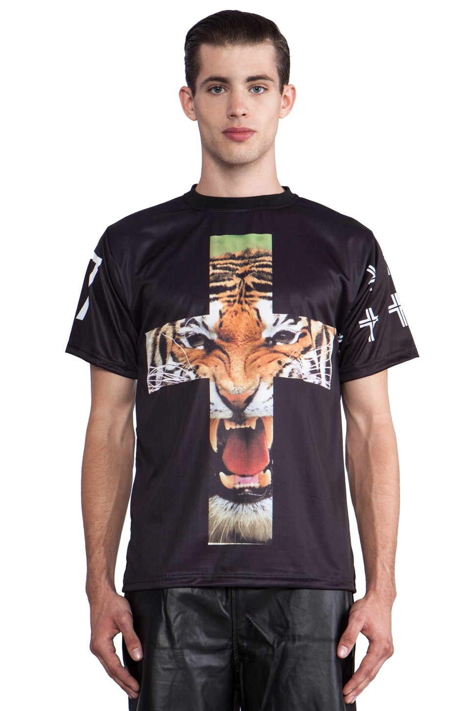 Iridium Tiger Cross Tee in Black