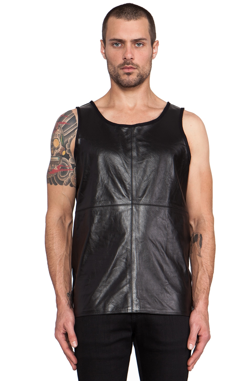 Iridium Loose Leather and Cotton Tank in Black