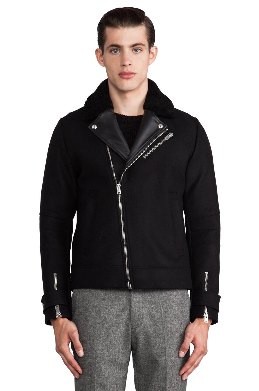 IRO Roni Leather Jacket w/ Fur Collar in Noir