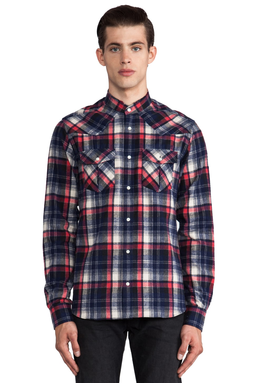 IRO Cys Mock Neck Flannel in Rouge