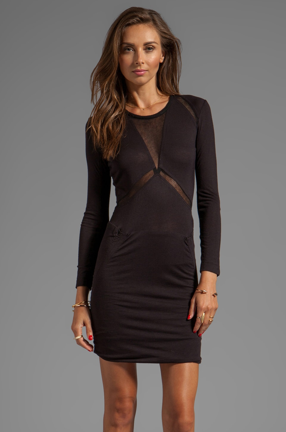 IRO Derova Sheer Cutout Dress in Noir