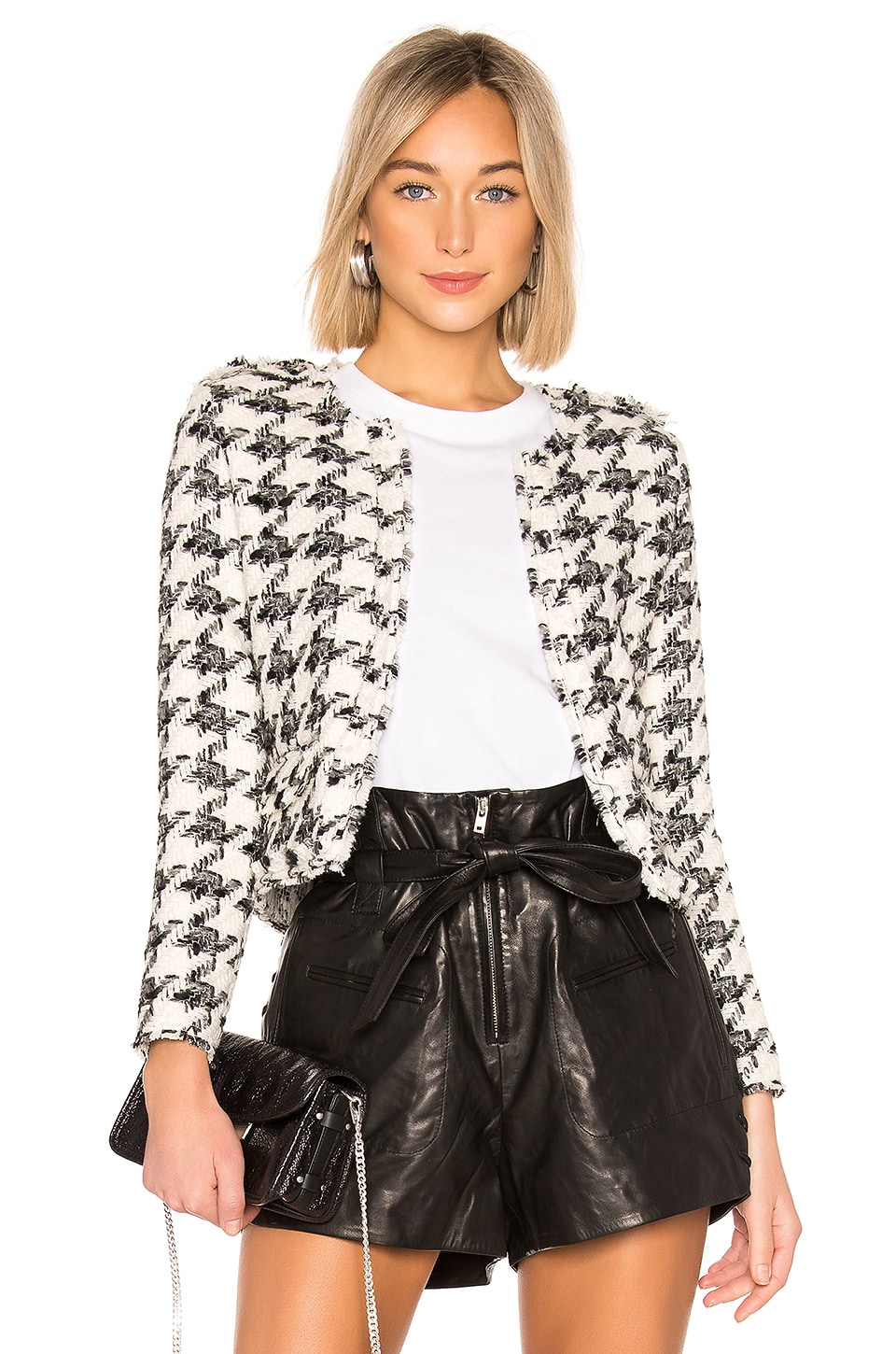 Hope Strong-Shoulder Cropped Tweed Jacket in Black