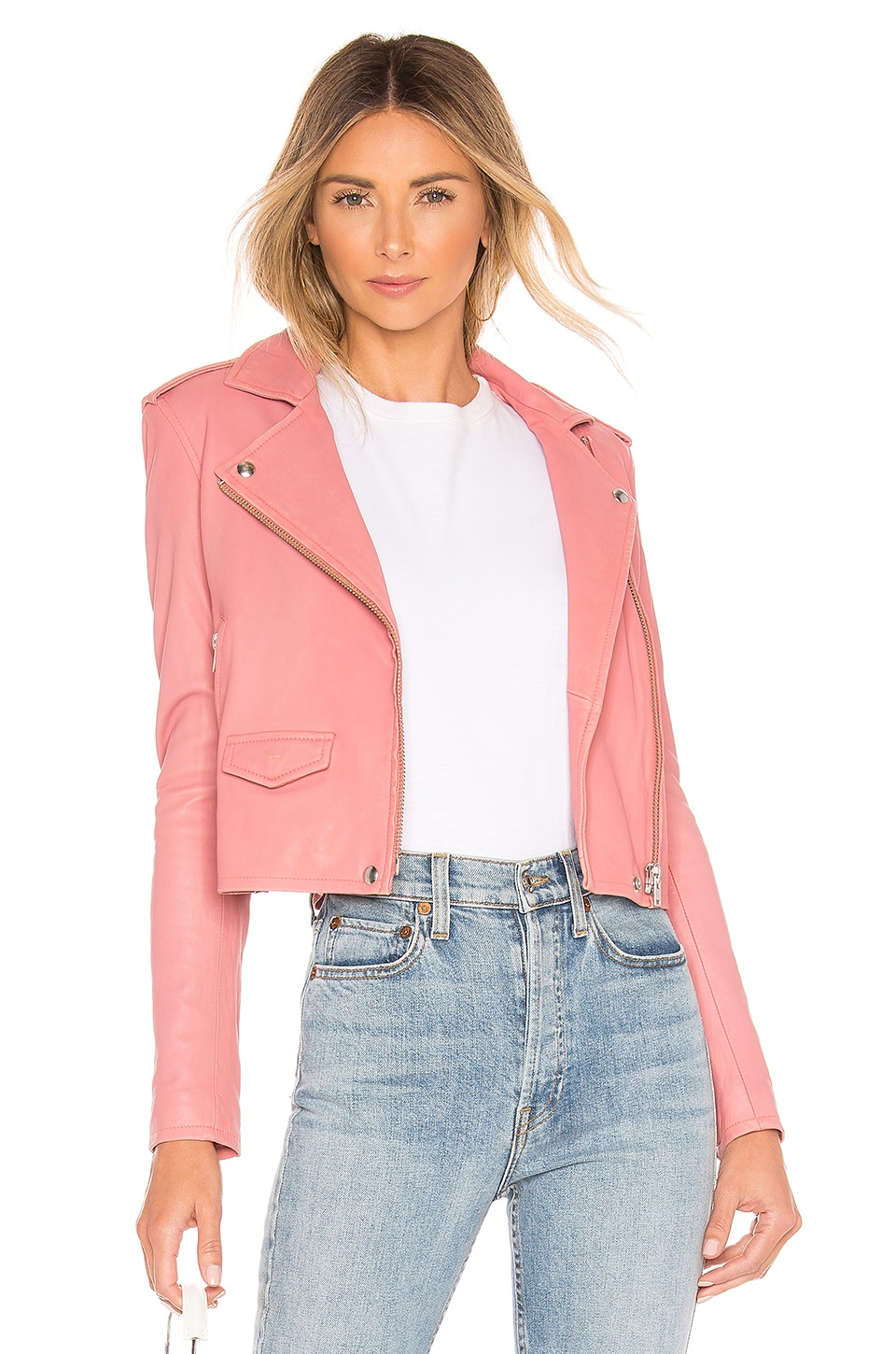 IRO Ashville Leather Jacket in Blush Lurex