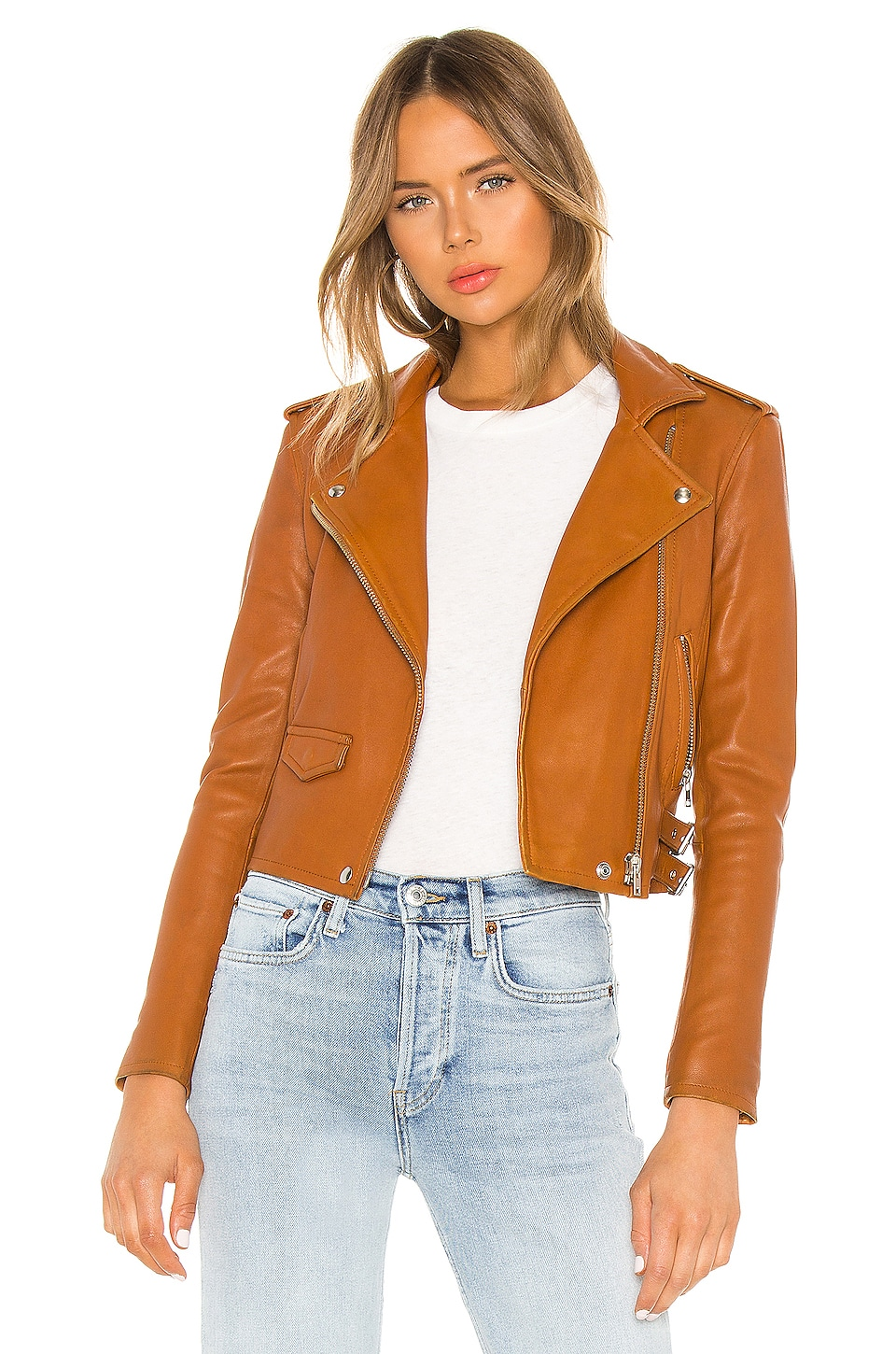 IRO Ashville Leather Jacket in Camel