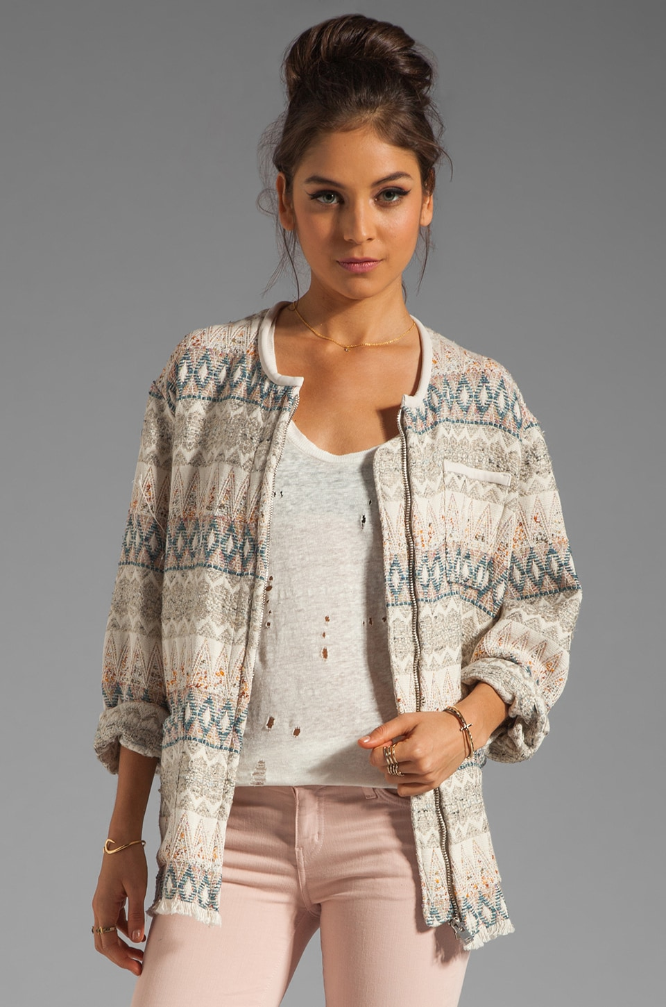IRO Oscar Tribal Oversized Jacket in Ecru