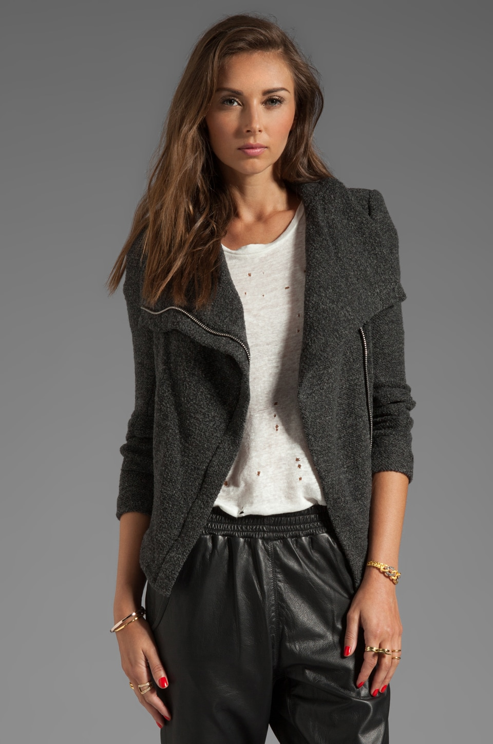 IRO Fratina Vest Tisse Jacket in Anthracite