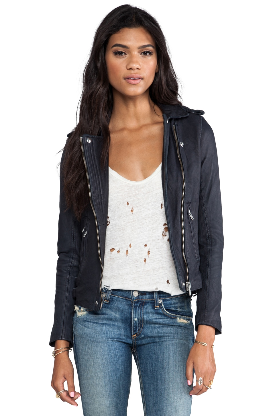 IRO Han Leather Moto Jacket in Navy