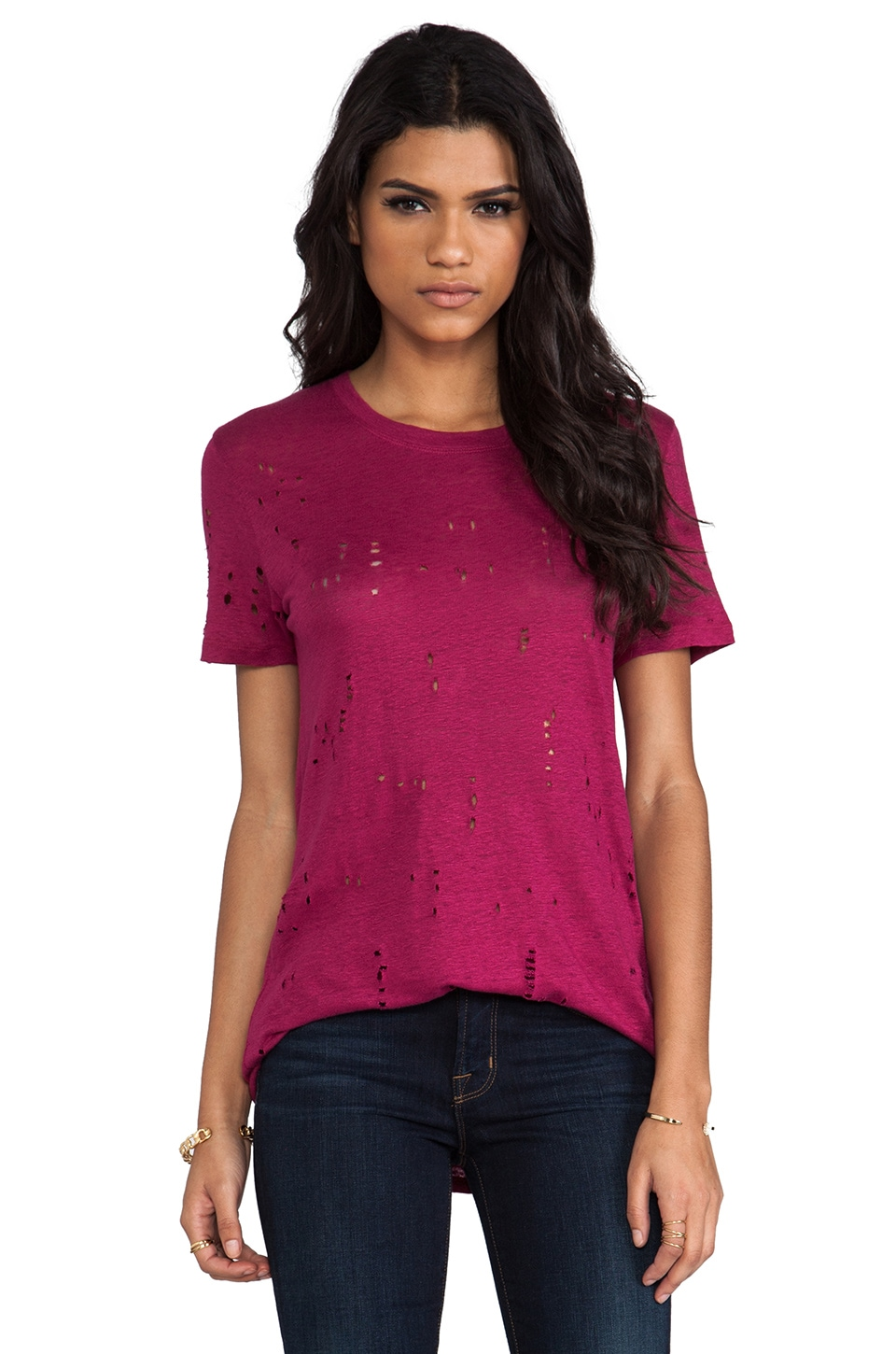 IRO Clay Distressed Tee in Fushia