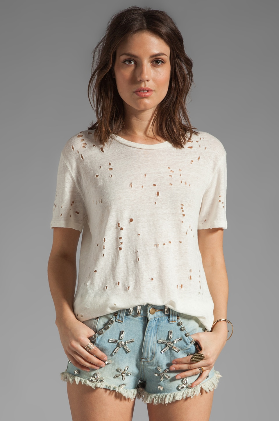 IRO Clay Distressed Tee in Ecru