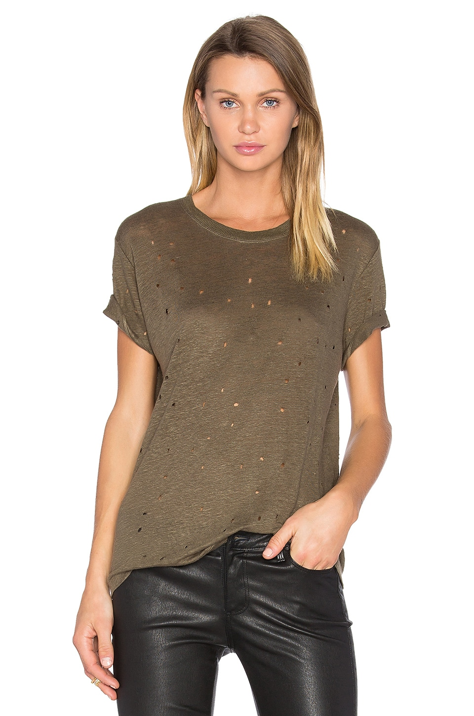 IRO Clay Distressed Tee in Kaki