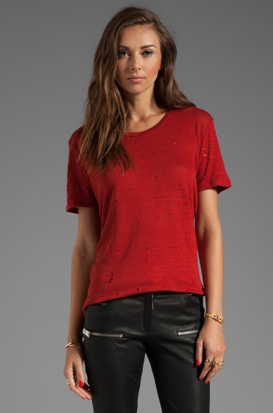 IRO Clay Tee Shirt in Rouge