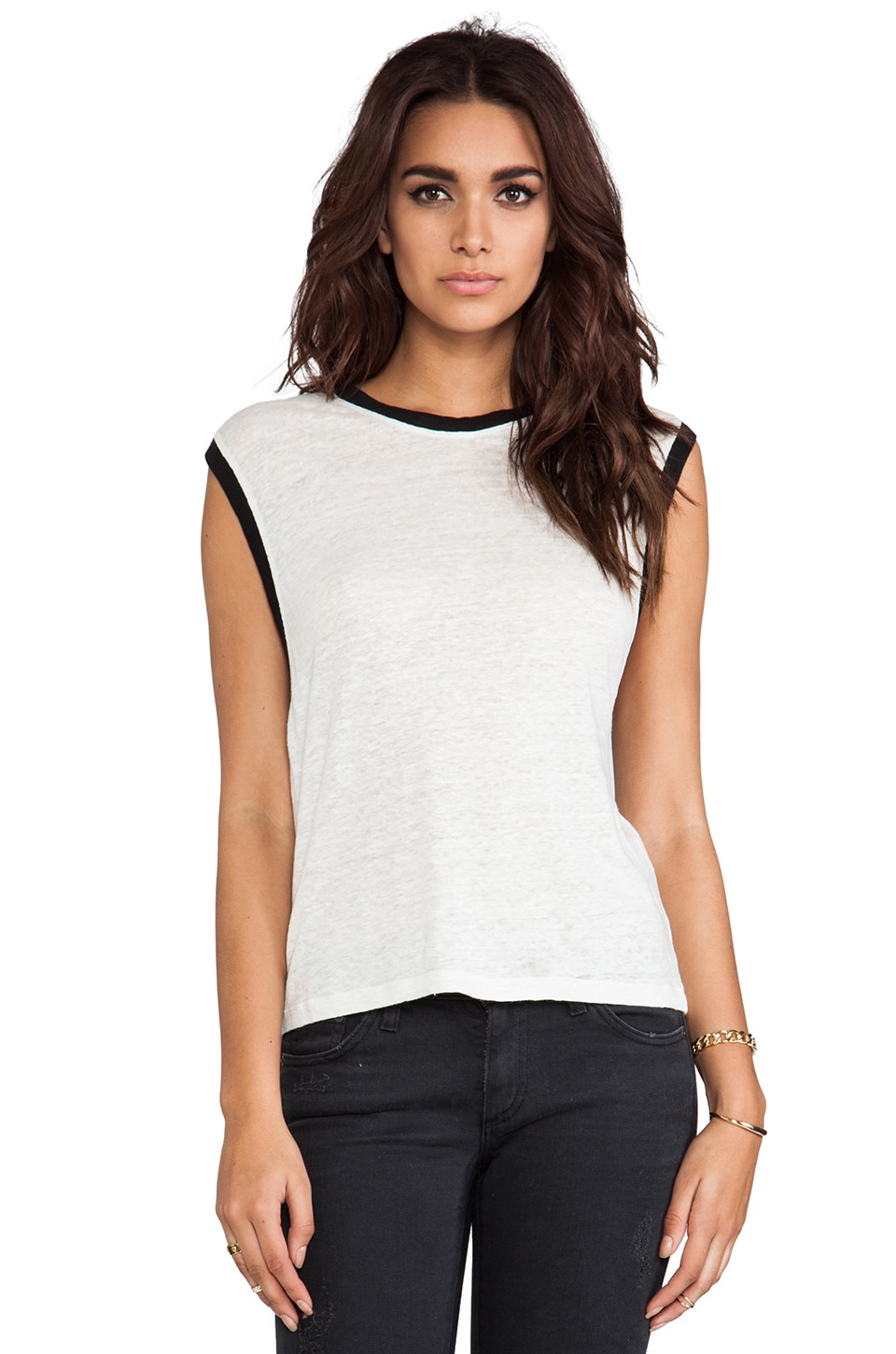 IRO Calvina Tank in Off White & Black