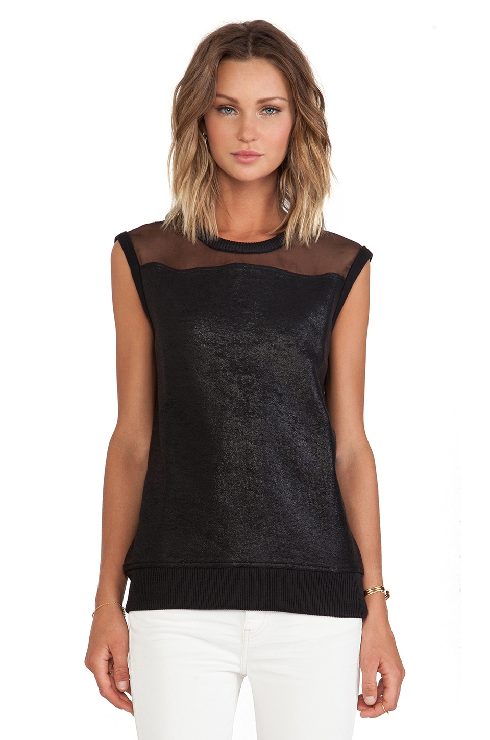IRO Leslyne Mesh Tank in Black