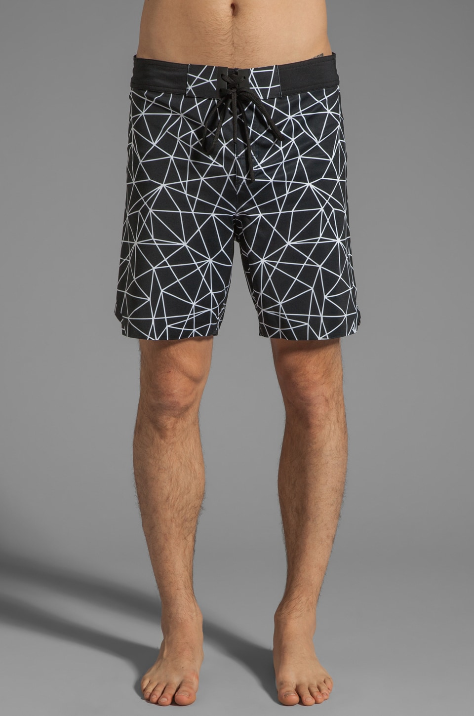 ISAORA Geo Light Printed Welded Stretch Board Short in Black