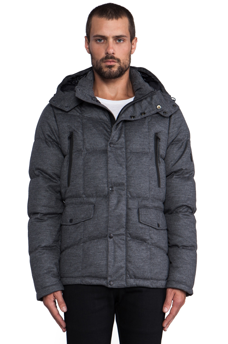 ISAORA Stretch Knit Flannel Down Jacket in Charcoal