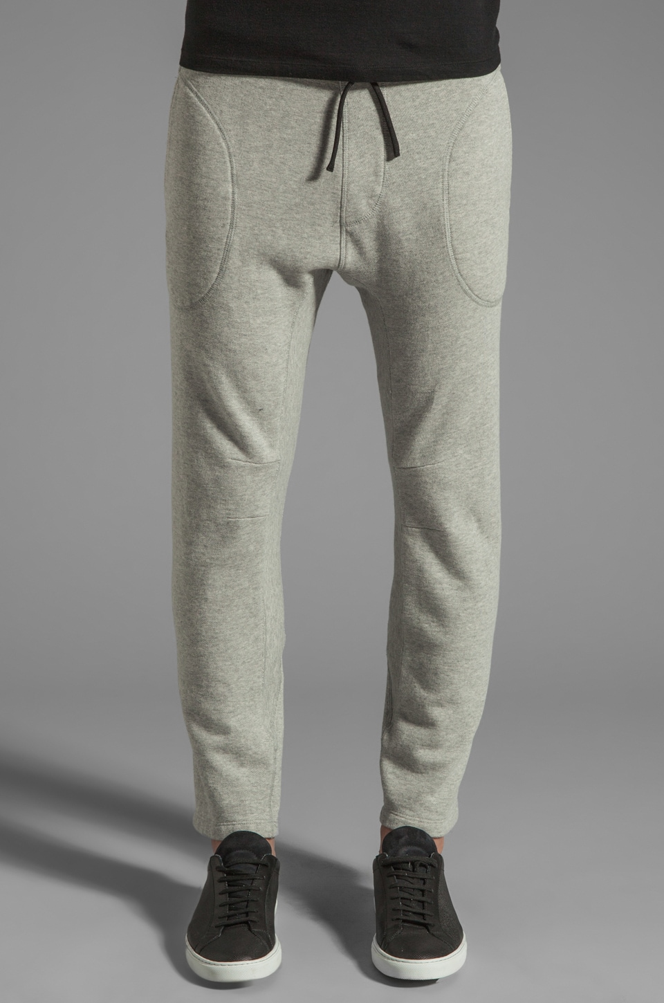 ISAORA French Terry Sweatpant With Engineered Seams in Light Grey