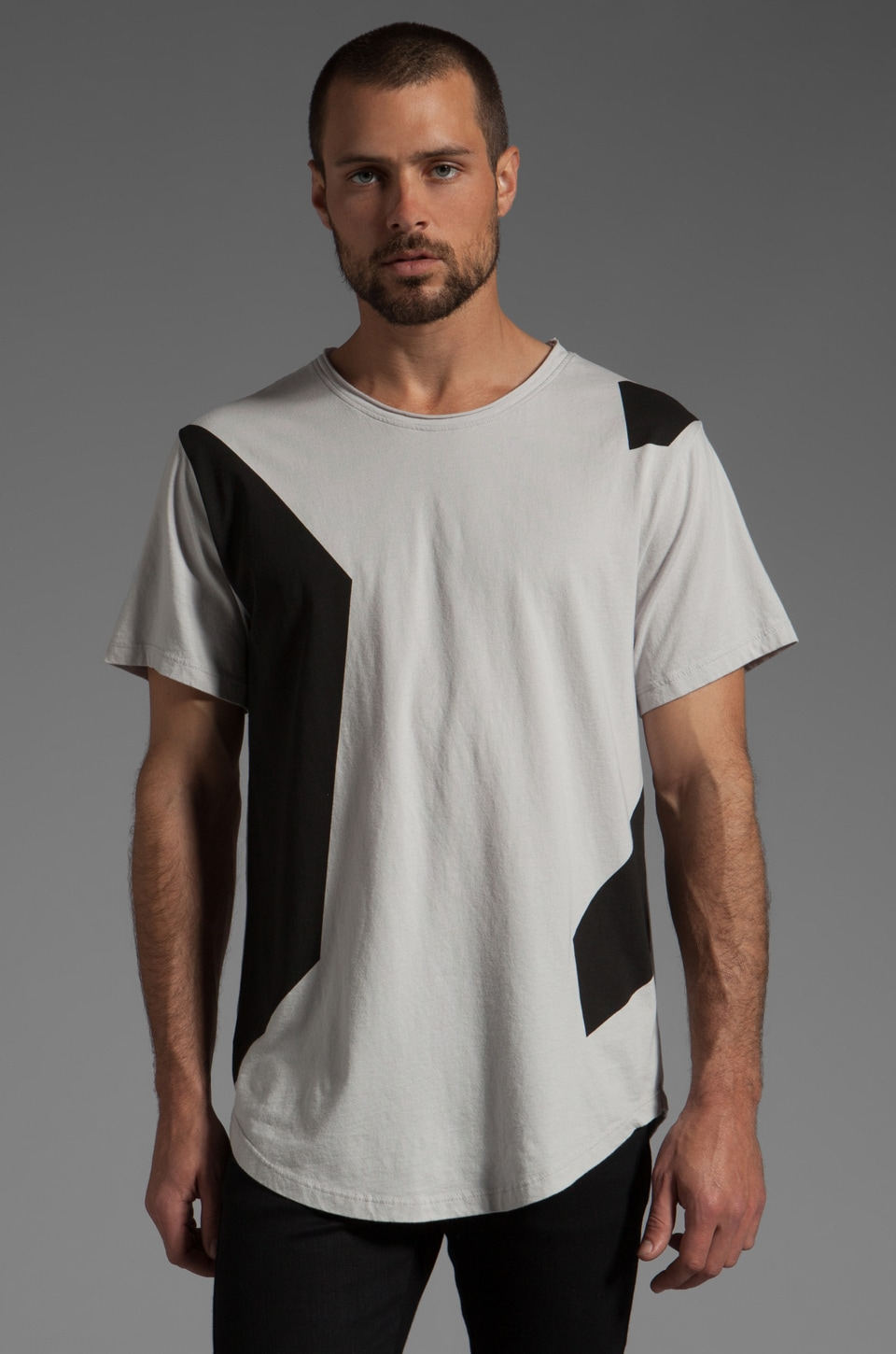 ISAORA Colorblock Printed T-Shirt in Light Grey