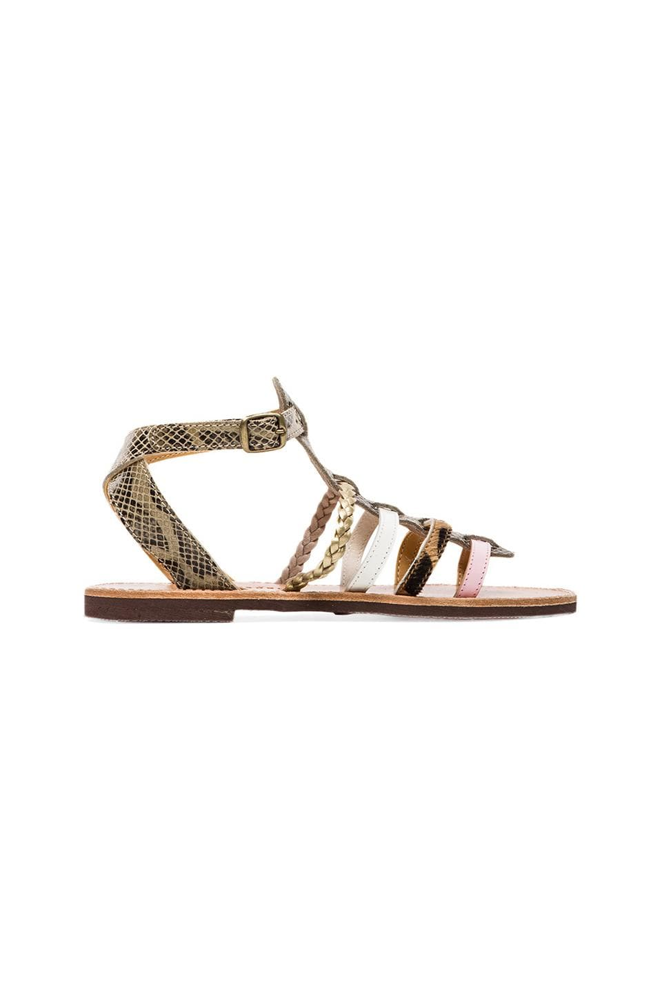isapera Paparouna Gladiator with Calf Fur in Pink Mix