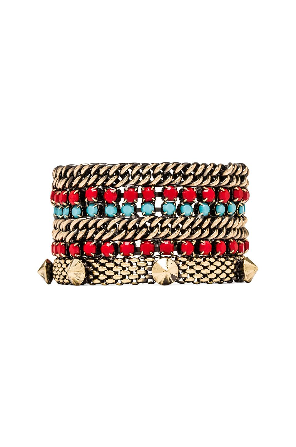 Iosselliani Tribal Studded Bracelet in Coral