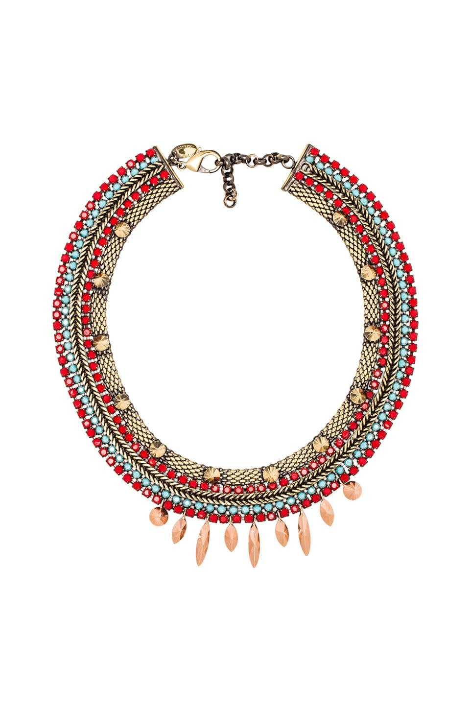 Iosselliani Tribal Feather Necklace in Coral