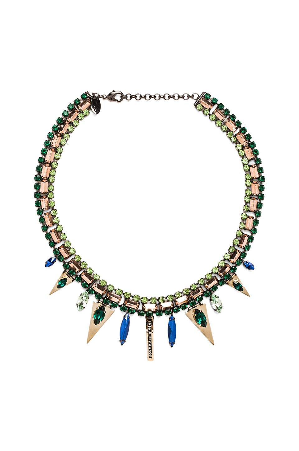Iosselliani Triangle Collar Necklace in Green Multi