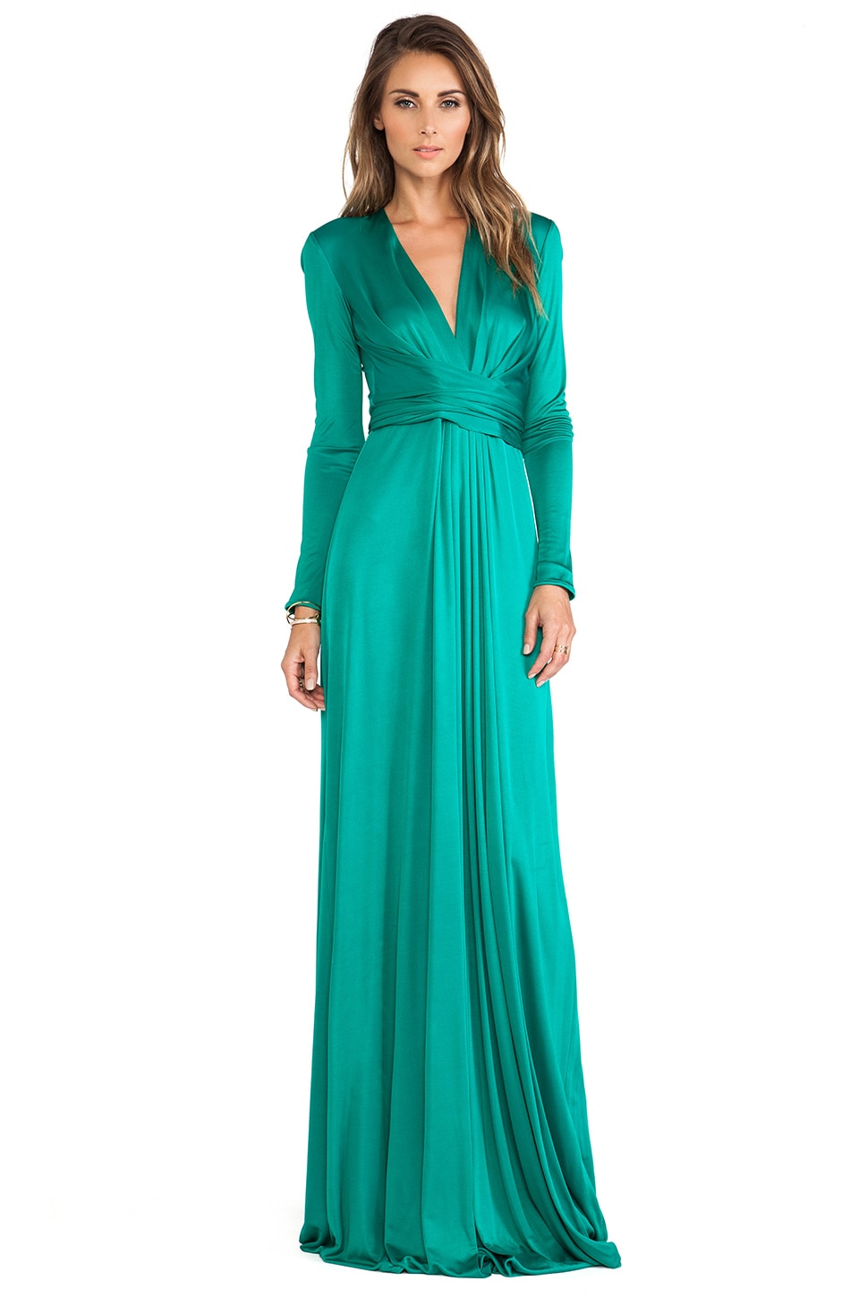 Issa Florence Long Sleeve Maxi Dress in Jade