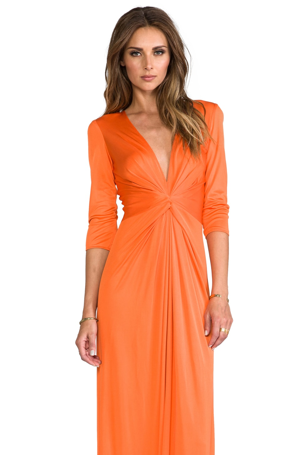 Issa Deep V-Neck Silk Jersey Maxi Dress in Sunset