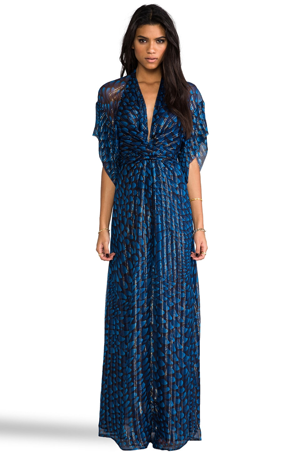 Issa Chiffon Metallic Short Sleeve Maxi Dress in Navy