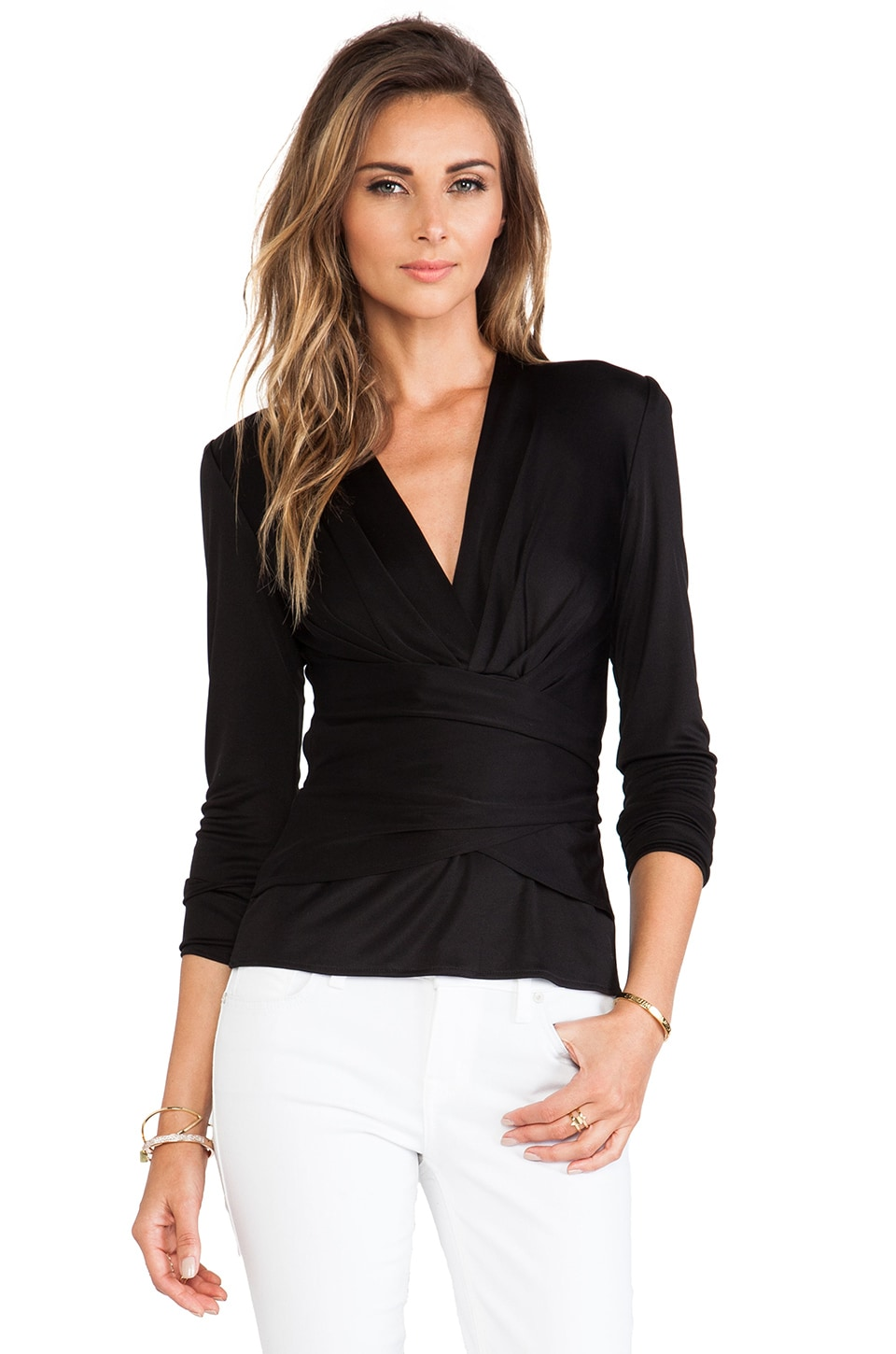 Issa Kathryn Long Sleeve Wrap Top in Black