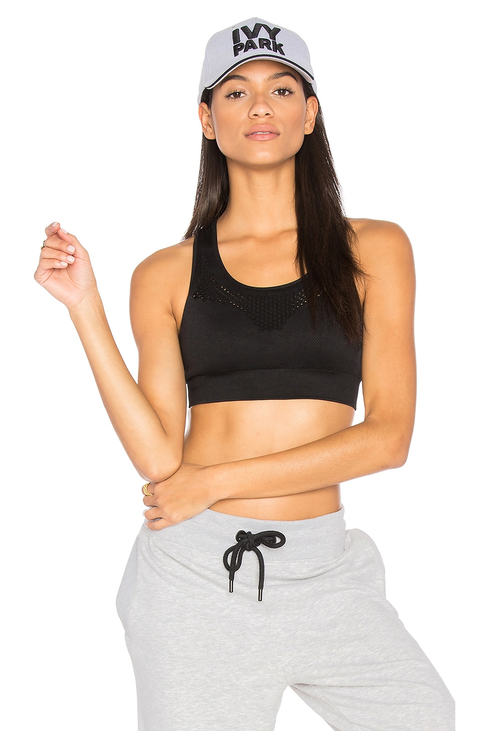 IVY PARK Mesh Sports Bra in Black