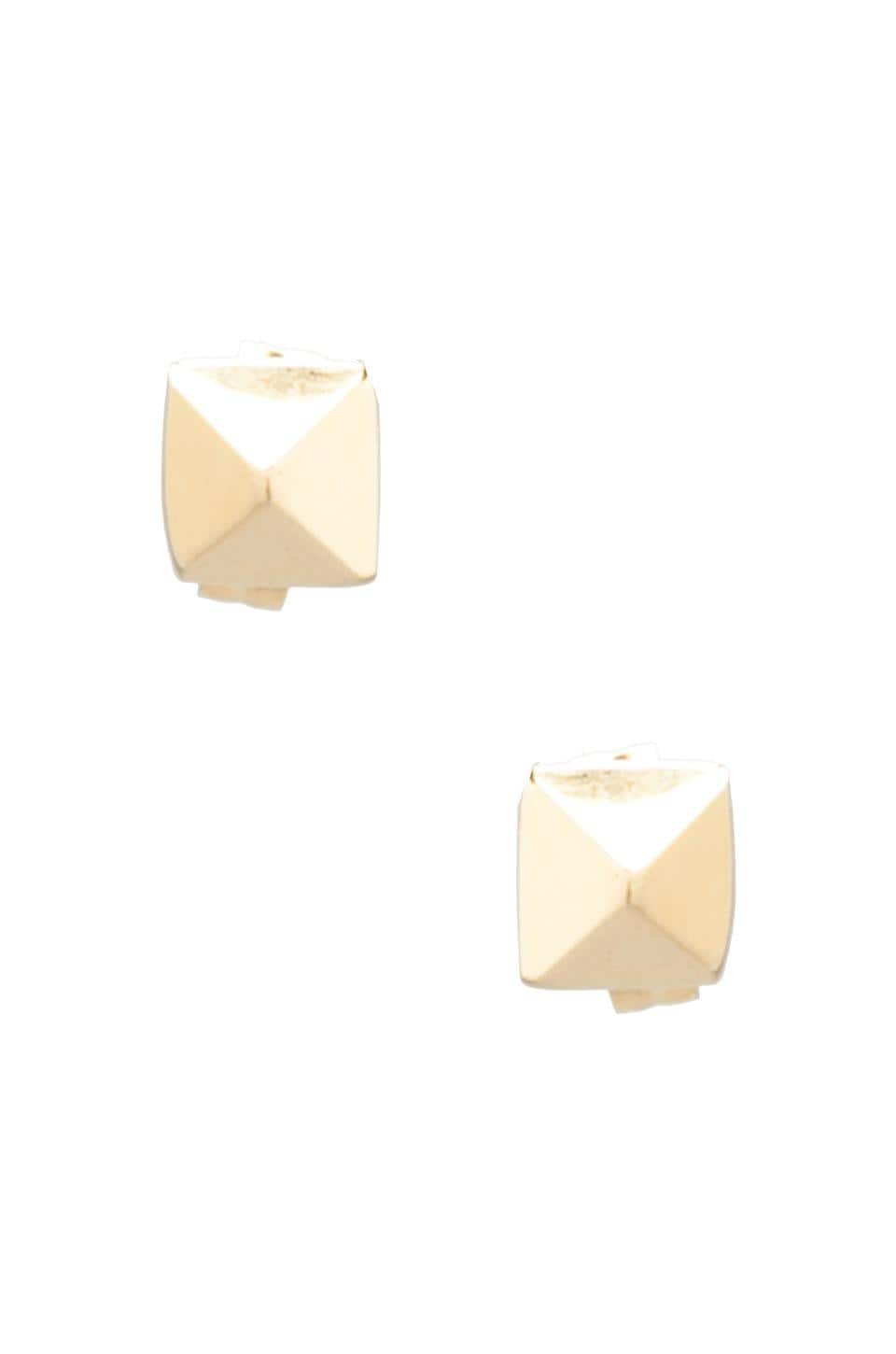 Jacquie Aiche Pyramid Plain Stud Earrings in Gold