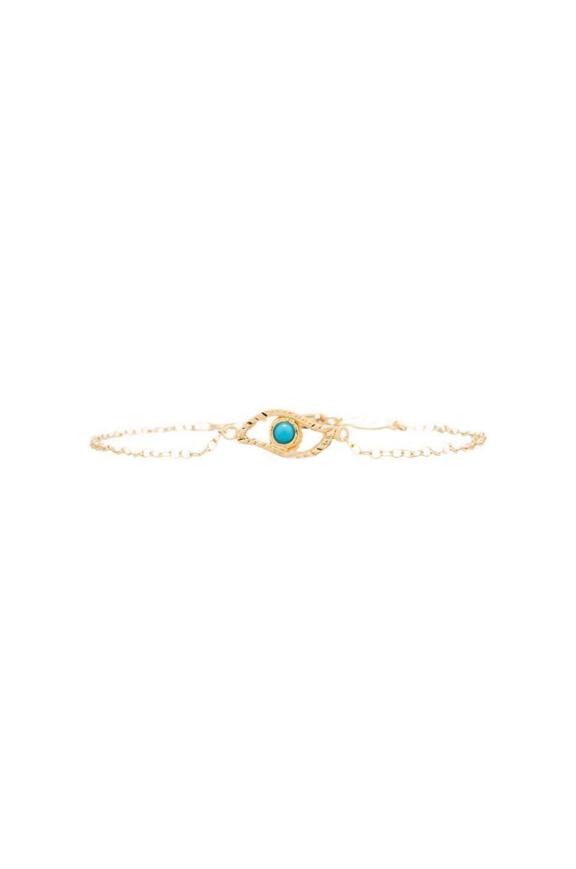 Jacquie Aiche Turquoise Evil Eye Bracelet in Gold Vermeil