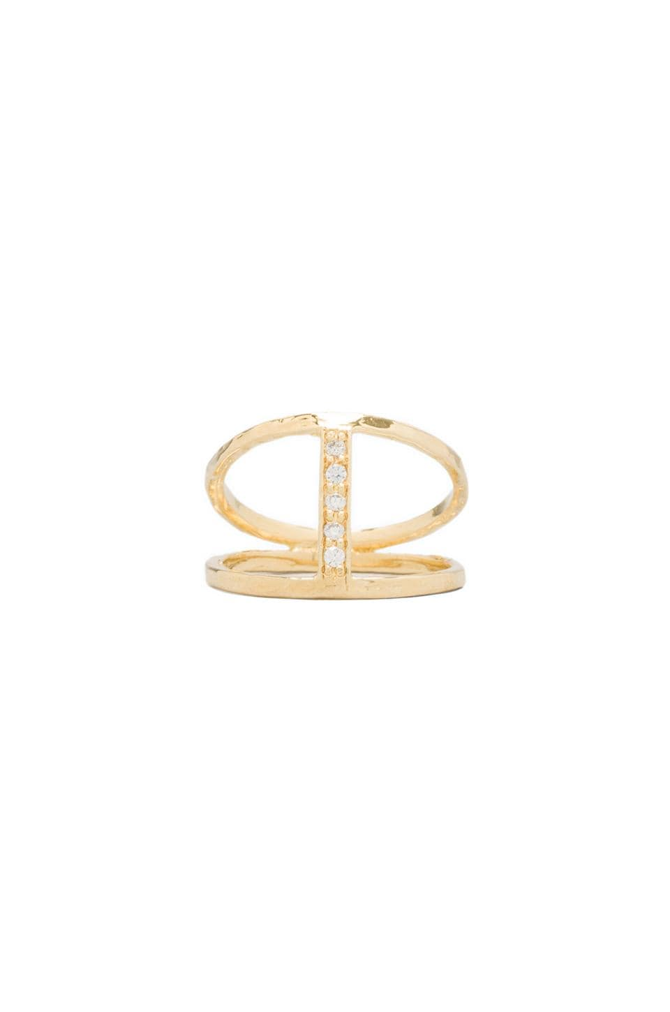 Jacquie Aiche CZ Center H Ring in Gold Vermeil