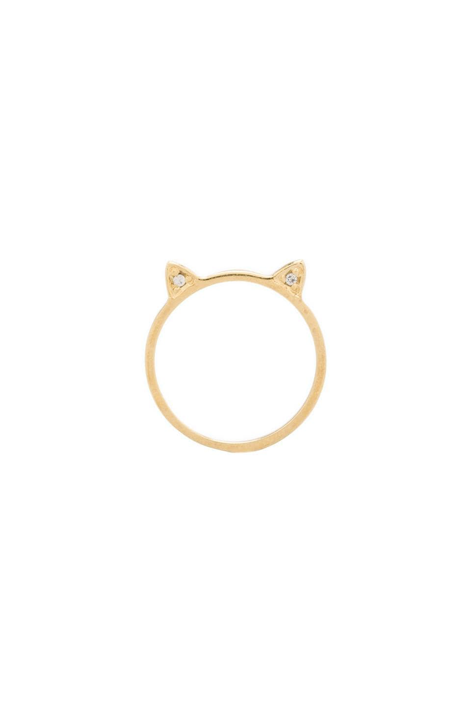 Jacquie Aiche CZ Kitty Ring in Gold Vermeil