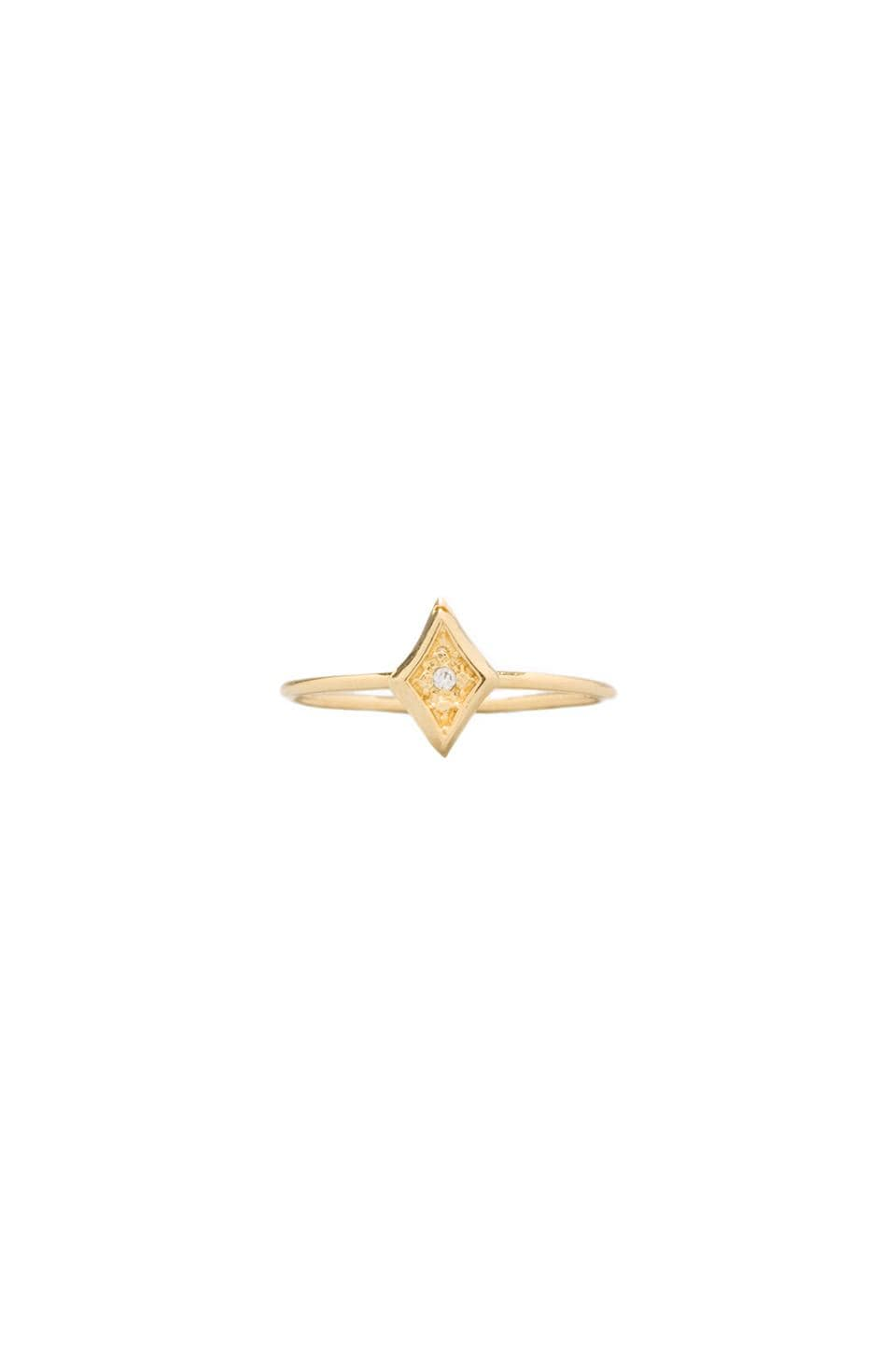Jacquie Aiche CZ Vertical Kite Ring in Gold Vermeil