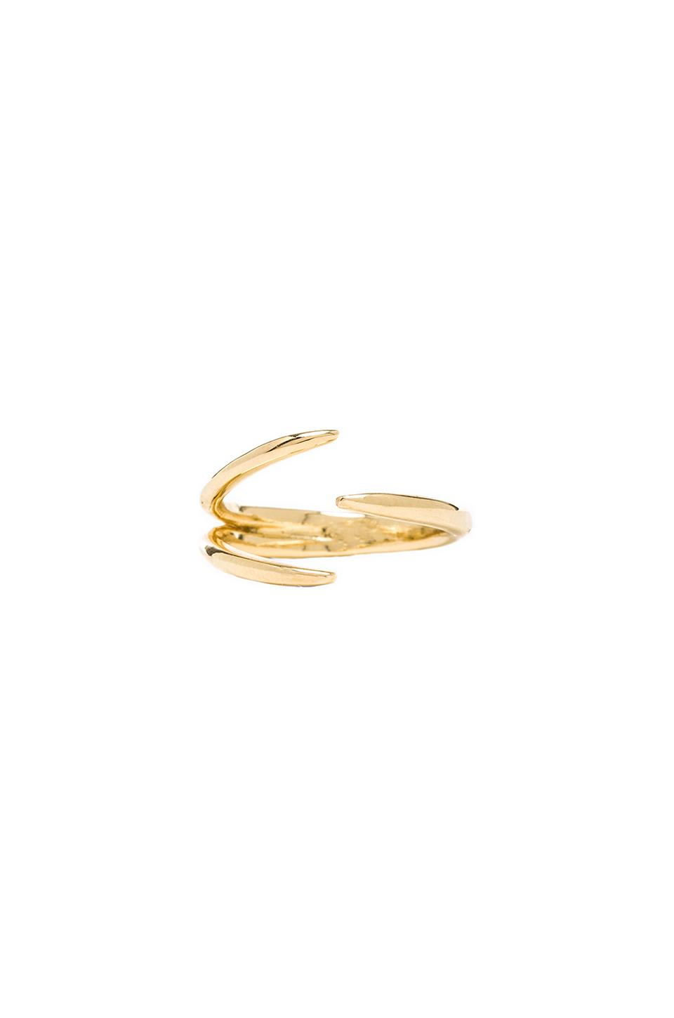 Jacquie Aiche Double Claw Ring in Vermeil Yellow Gold