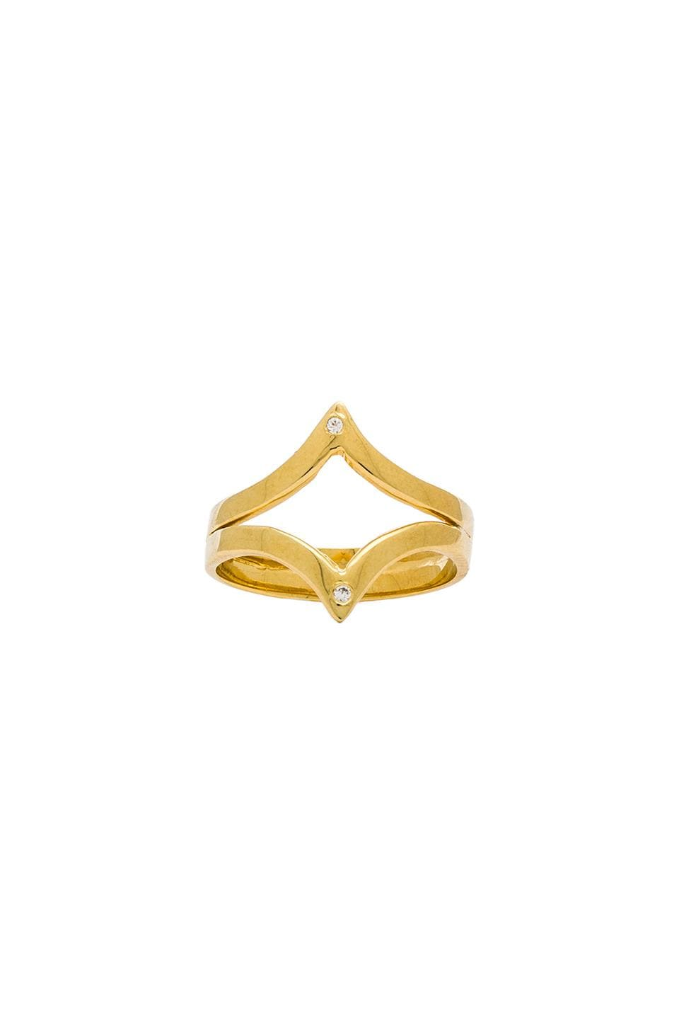Jacquie Aiche Outward Twin V Ring in Gold