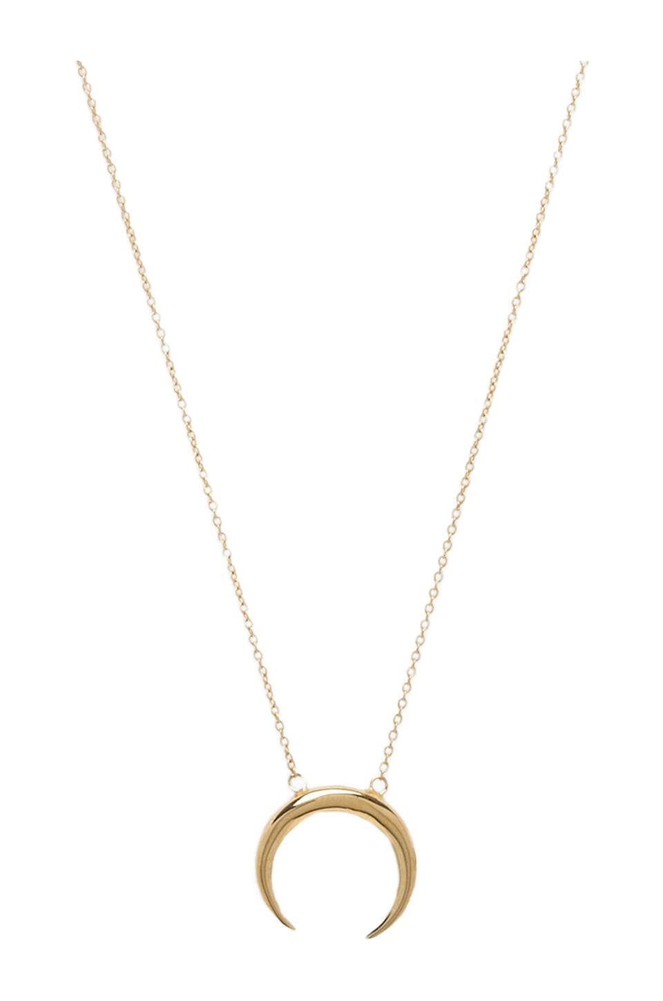 Jacquie Aiche Small Crecent Necklace in Gold Vermeil
