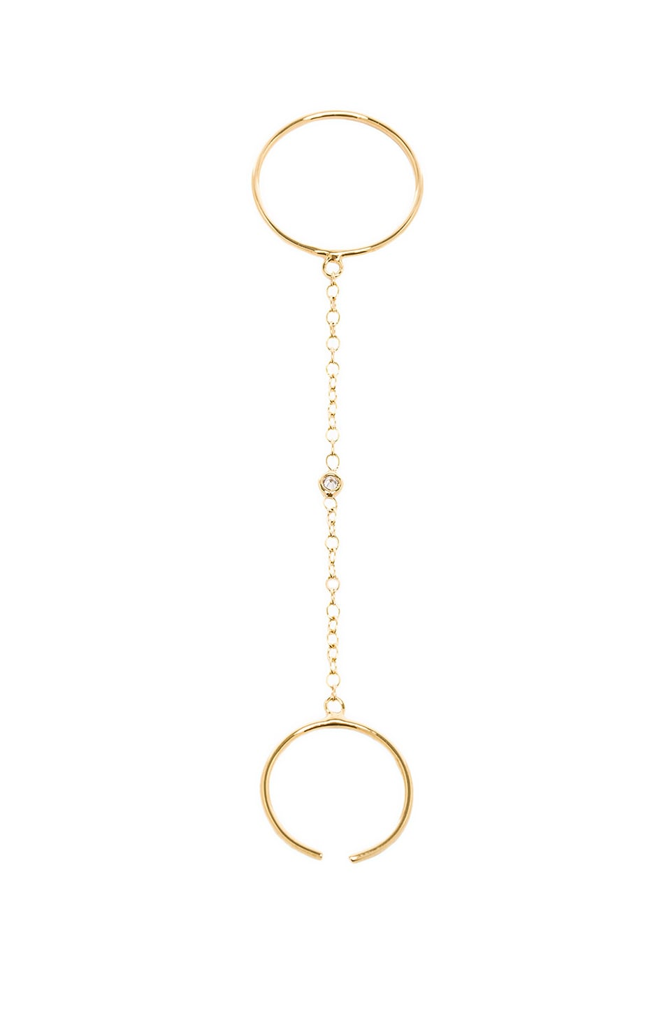 Jacquie Aiche 1cz Smooth Slave Chain Ring in Gold