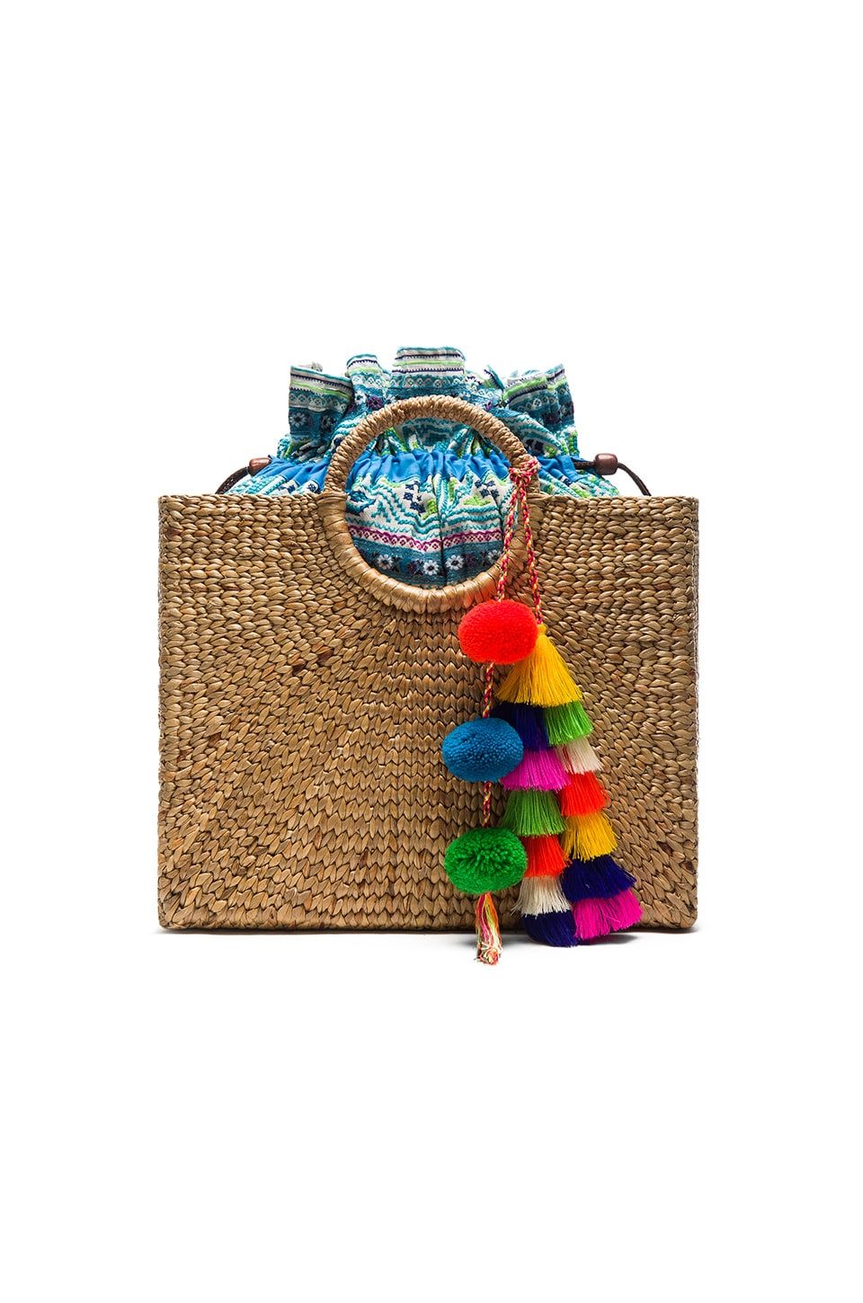 JADEtribe Multi Tassel Square Basket Tote in Blue