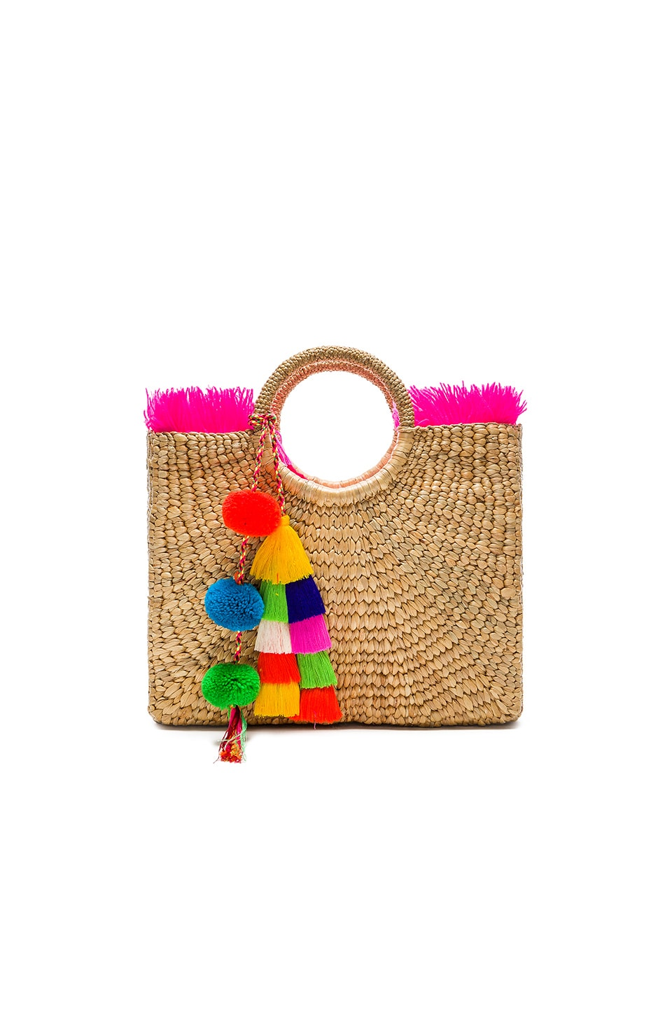 JADEtribe Multi Tassel Square Fringe Basket Tote in Pink