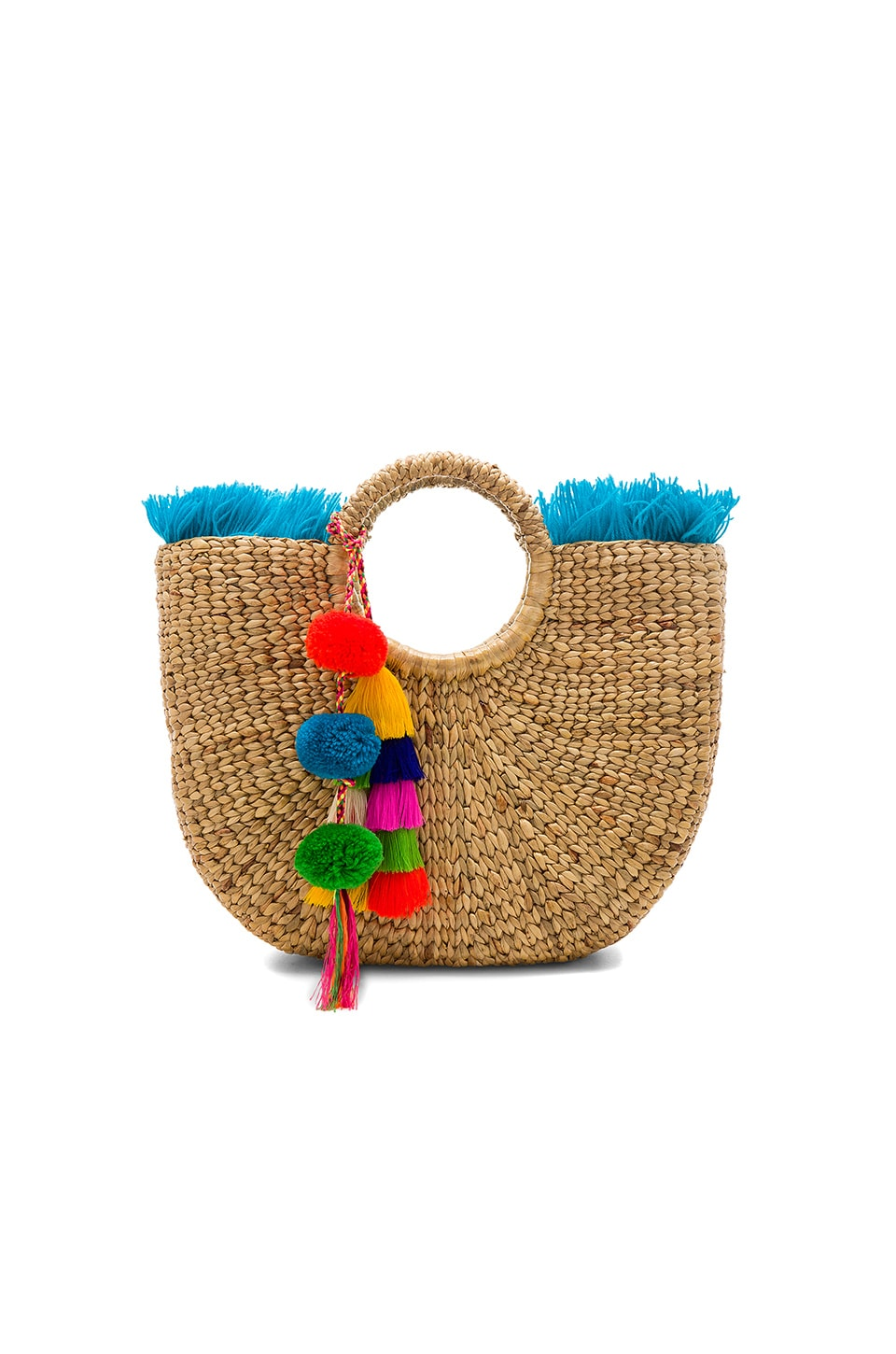 JADEtribe Fringe Tassel Small Basket in Blue